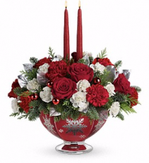 Teleflora's Silver and Joy Centerpiece Christmas arrangement