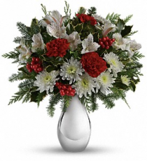 Teleflora's Silver and Snowflakes   TWR08-3 Christmas Floral Arrangement