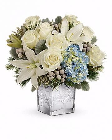 Teleflora's Silver Snow Bouquet Christmas Arrangement