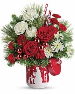 Teleflora's Snow Day Bouquet Christmas arrangement