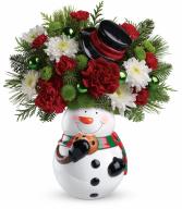 Teleflora's Snowman Cookie Jar Bouquet Christmas Arrangement