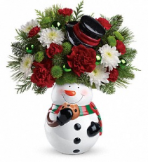 Teleflora's snowman cookie jar Christmas arrangement