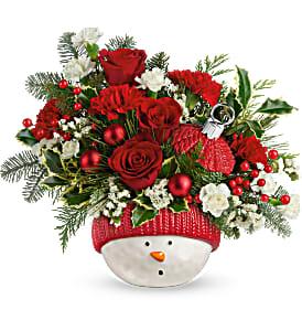 Teleflora's Snowman Ornament Bouquet centerpiece