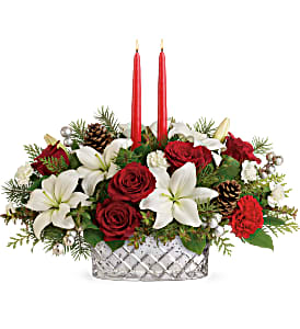 Teleflora's Sparkling Season T19X105B Centerpiece  in Moses Lake, WA | FLORAL OCCASIONS