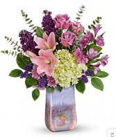 Teleflora's Purple Swirls Bouquet Fresh Arrangement with a Teleflora Keepsake