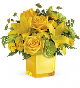 Teleflora's Sunny Mood Cube arrangement-fresh in Auburndale, FL | The House of Flowers