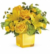 Teleflora's Sunny Mood Cube arrangement-fresh