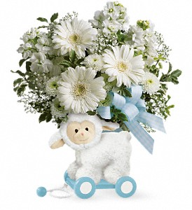Teleflora's Sweet Little Lamb Blue Lamb Container in Auburndale, FL | The House of Flowers