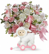 Teleflora's Sweet Little Lamb -Pink TNB03-1B  Bouquet