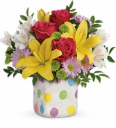 Teleflora's Happy Thoughts Bouquet Fresh Flowers in a Keepsake Cube