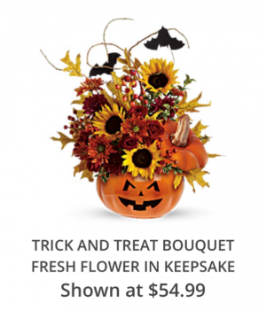 Teleflora's Trick or Trick Bouquet Fresh arrangement in a collectible keepsake in Auburndale, FL | The House of Flowers