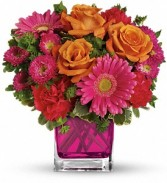 Teleflora's Turn Up The Pink Cubed Arrangement
