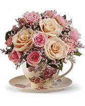 Teleflora's Victorian Garden Tea Cup Arrangement