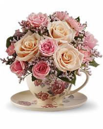 Teleflora's Victorian Teacup Bouquet Arrangement