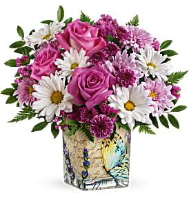 Teleflora's Vintage Butterfly Bouquet Fresh Flowers in a Keepsake Cube