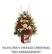 Teleflora's Vintage Christmas Tree Arrangement  Fresh arrangement in a collectible tin