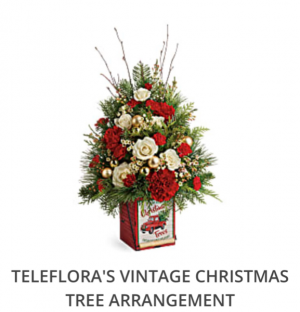 Teleflora's Vintage Christmas Tree Arrangement  Fresh arrangement in a collectible tin in Auburndale, FL | The House of Flowers