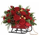Teleflora's Vintage Sleigh  Christmas arrangement