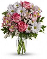 What a Treat Bouquet Pink and white vasing