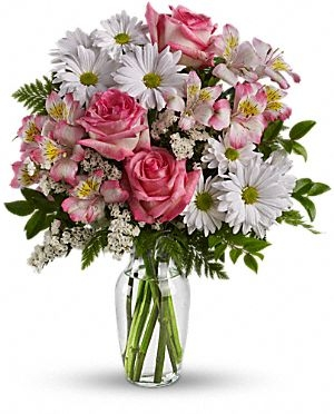 What a Treat Bouquet Pink and white vasing in Elyria, OH | PUFFER'S FLORAL SHOPPE, INC.