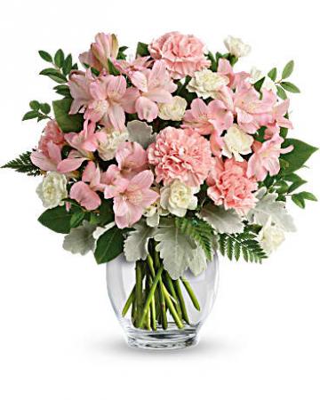 Teleflora's Whisper Soft Bouquet  Vase arrangement