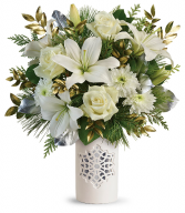 Teleflora's White Snowflake Bouquet Christmas Arrangement