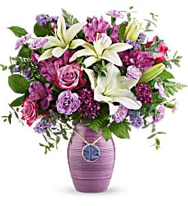 Telefloras's Dreamy Dragonfly Bouquet Fresh Flowers in a Keepsake Vase