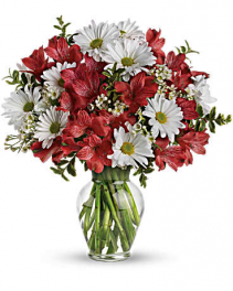 Teleflora's Dancing in Daisies  Vase arrangement