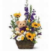 TEDDY IN THE FLOWERS *BASKET OF FLOWERS WITH TEDDY BEAR INCLUDED