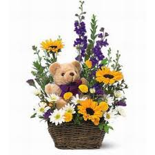 Teddy in Flowers Basket Arrangement with Teddy Bear included