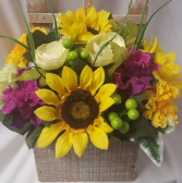 "SILK FLOWERS ARRANGED IN A RUSTIC WOODEN  WINDOW BOX  LOOK! Great for funerals, nursing homes, ànd hospitàls. Looks real! Measures 15"" tall by 12"" wide.(Colors may vary...but we will make it bright and mixed silk flowers)"