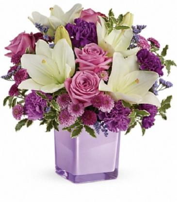 TEV45-1B Teleflora's Pleasing Purple Bouquet DX Cube Vase Arrangement