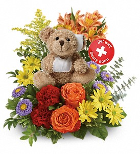 TEV52-3A Get Better Bouquet by Teleflora Novelty Bear Arrangement
