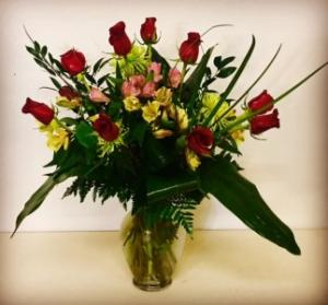Texas Dozen 13 Red Rose with mixed filler flowers in Plainview, TX | Kan Del's Floral, Candles & Gifts
