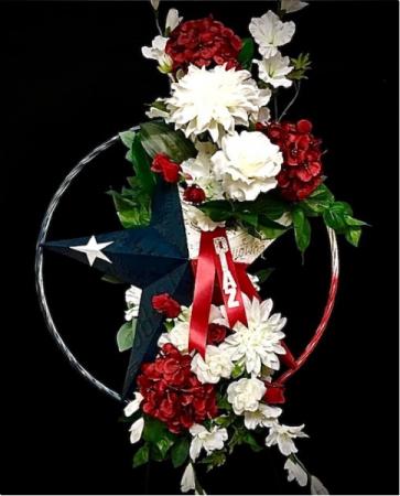 Silk Floral Easel Texas Metal Star