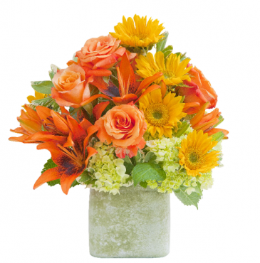 Textured Sunset Vase Arrangement