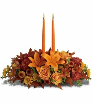Glowing Fall Centerpiece  in Bethel, CT | BETHEL FLOWER MARKET OF STONY HILL