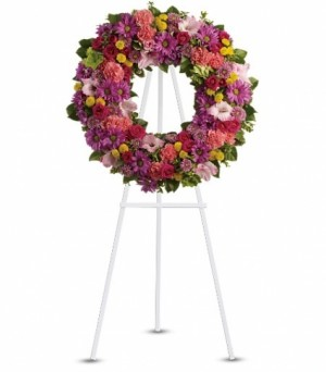 tf 239 pink tribute wreath  in Bethel, CT | BETHEL FLOWER MARKET OF STONY HILL