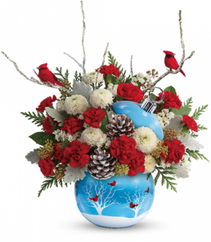 TF Cardinals In The Snow Ornament Arrangement in Redding, CT | Flowers and Floral Art