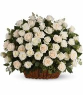 tf331 blooming white roses funeral basket