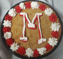 """Giant chocolate cookie with """"M"""" ON IT!"""