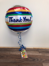 "Thank you balloon and tickle stick 18"" helium balloon and candy"