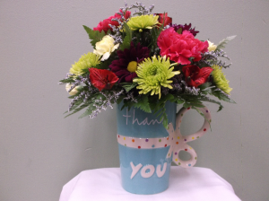 THANK YOU! MUG ARRANGEMENT in Springfield, VT | WOODBURY FLORIST