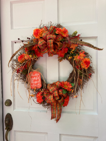 Thankful Grateful Blessed Fall Wreath Silk