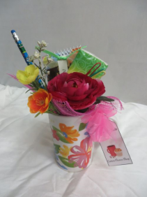 Thankful Mug filled with Goodies and Silk Flowers