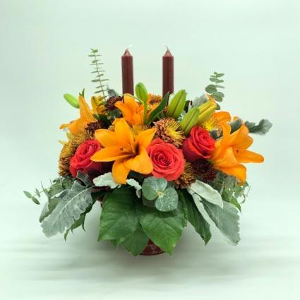 THANKSGIVING CANDLE DIVINE ARRANGEMENT Flower Arrangement