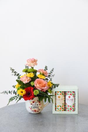 """Thanks Mom"" Mug of Blooms and set of teas"