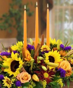 Thanksgiving Autumn Grace Candle Centerpiece