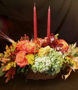 Thanksgiving Basket rustic oblong basket with 2 candles in Northport, NY | Hengstenberg's Florist