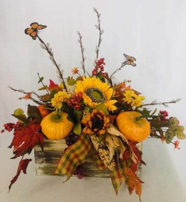 Thanksgiving Bounty Silk Silks centerpiece